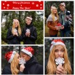 Merry Christmas postcard. Happy young couple in love wearing Santa hats kissing and holding a big snowflake and a present. Man and woman celebrating Christmas and New Year — Stock Photo #58334217