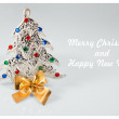 New year sign with christmas tree toy on white background. Happy new year card — Stock Photo #59816701
