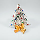 New year 2015 sign with Christmas tree toy on white background. Happy new year card — Stock Photo