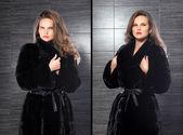 Fashion beautiful blonde woman posing in fur coat. Winter Girl M — Stock fotografie