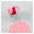 Baby card - Its a girl theme. Pram full of flowers on white textile background. Newborn greeting card. — Stock Photo #61356705