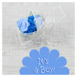 Baby card - Its a boy theme. Pram full of flowers on white textile background. Newborn greeting card. — Stock Photo #61356707