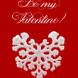 White heart shaped snowflake on red background. Happy Valentine's Day Greeting Card. Winter symbol — Stock Photo #61559079