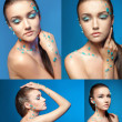 Set of young woman nude portraits with professional makeup. Beautiful naked young woman covered with blue crystals. Snow queen, girl covered with ice. — Stockfoto #66076505