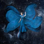 Blue space queen. Beautiful woman in a fluttering dress standing and balancing on the planet in outer space. Fantastic art work. Elements of this image furnished by NASA. — Stock Photo