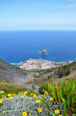 Panoramic view over the rooftops of the city by the ocean. Tenerife Canary Islands. — Stock Photo