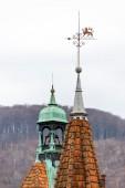 Scharfe Dächer der Shenborn Burg, Ukraine. — Stockfoto