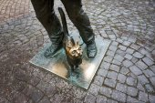Monument of Happy Chimney Sweeper and his cat. The monument with real chimney sweeper Bertalon Tovt as prototype was unveiled on June 12, 2010 by Ukrainian sculptor Ivan Brovdi. — Stock Photo