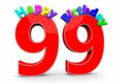 The big red number 99 with Happy Birthday — Stock Photo