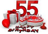 Happy birthday in red — Stock Photo