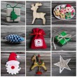Collage of several different colorful christmas decoration on wo — Stock Photo #52362383