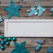 Merry christmas card in white and turquoise colores. — Stock Photo #52362625