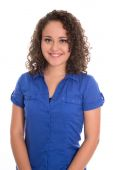 Pretty isolated girl in blue blouse and natural curls. — Stock Photo