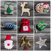Collage of several different colorful christmas decoration on wo — Stock Photo