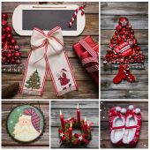 Merry christmas greeting card in red and white color on wood. — Foto de Stock