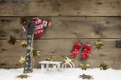 Christmas wooden background with a skiing concept for traveling. — Stock Photo