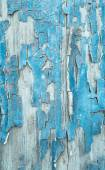Old patterned wooden background in turquoise or blue with flaked — Stock Photo