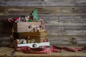 Wooden christmas background in vintage and nostalgia style. — Photo