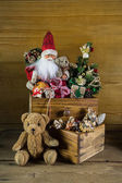 Old christmas toys with santa for decoration. — Stock Photo