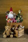 Old christmas toys with santa for decoration. — Foto de Stock