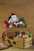 Vintage christmas decoration with Santa and wood. — Stock Photo