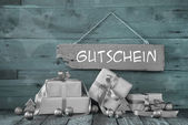 Background: Christmas voucher with presents in silver and mint g — Stock Photo