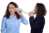 Communication concept: two isolated business woman talking with — Stock Photo