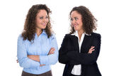 Portrait of two young isolated business woman - real twins. — Stock Photo
