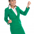 Isolated happy business woman in green celebrating her success. — Stock Photo #52506693