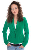 Isolated smiling young woman in green with stop curls looking si — Stock Photo