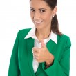 Career concept: isolated businesswoman in green making thumb up — Stock Photo #53579659