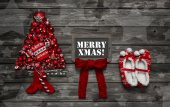 Rustic vintage wooden christmas background for a greeting card w — Stock Photo