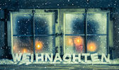 Atmospheric xmas window for a background with german text: Chris — Stockfoto