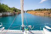 Crossing with a catamaran or sailing yacht trough the Channel of — Stock Photo