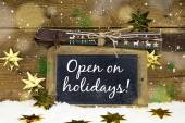 Open on Christmas: sign with text for winter skiing holidays and — Stock Photo