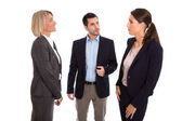 Isolated business team: man and woman talking together. — Stok fotoğraf
