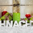 German greeting card in red and green with text: Christmas. — Stok fotoğraf #54867643