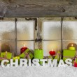 Classical christmas window with candles and presents for xmas. — Stock Photo #54946339