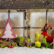 Christmas background or window decoration in red and green color — Stock Photo #54946357