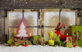 Christmas background or window decoration in red and green color — Stock Photo