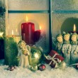 Atmospheric classic christmas decoration with angels, presents a — Stock Photo #55046587