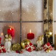 Classical christmas wooden window decoration with red candles an — Stock Photo #55046685
