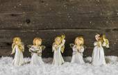 Christmas decoration with angels on wooden background for a gree — Stock Photo