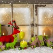 Festive christmas window decoration in green and red with presen — Foto Stock #56046643