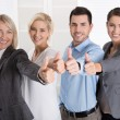 Successful business team in portrait: more woman as men with thu — Stock Photo #56125979