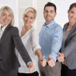 Successful business team in portrait: more woman as men with thu — Stock Photo #56126077