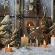 Handmade christmas decoration with wooden trees and reindeer. — Stock Photo #56404091