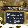 Advertising board for winter tourism: We have open on christmas  — Stock Photo #56404599
