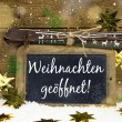 Advertising board for winter tourism: We have open on christmas  — Stock Photo #56404607