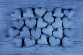 Blue hearts on an old wooden background: greeting card for fathe — Stock Photo